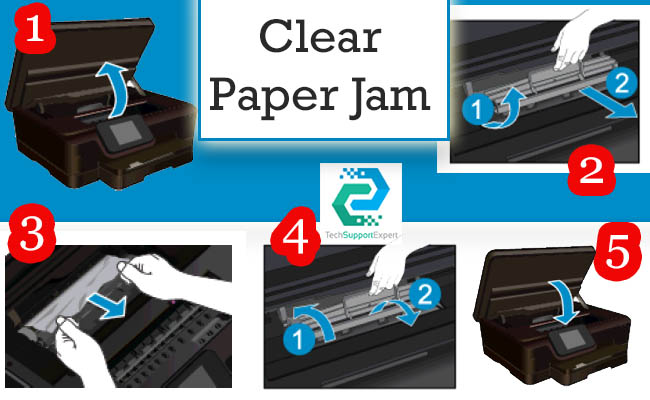 How to clear paper jam HP Photosmart 6250