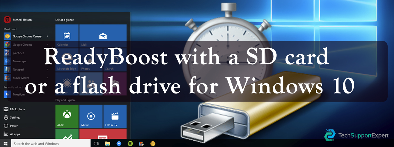ReadyBoost with a SD card or a flash drive for Windows 10